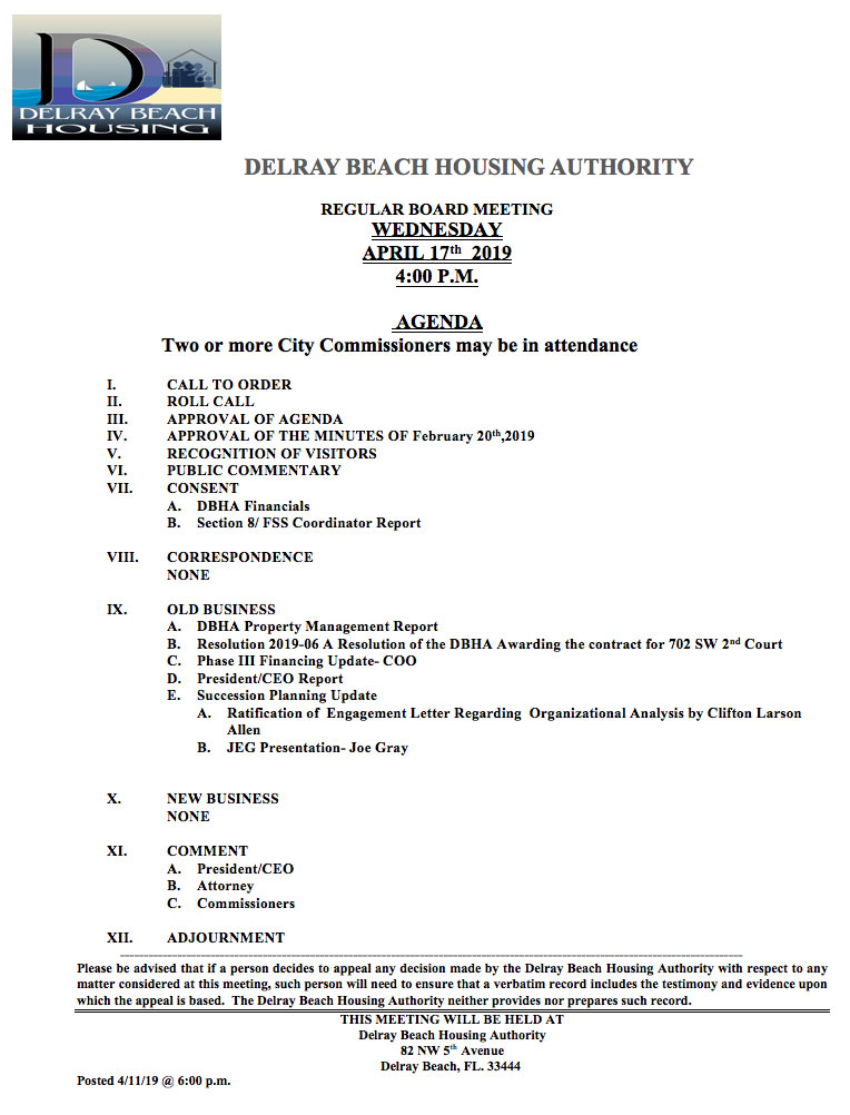 Agenda - Board Meeting