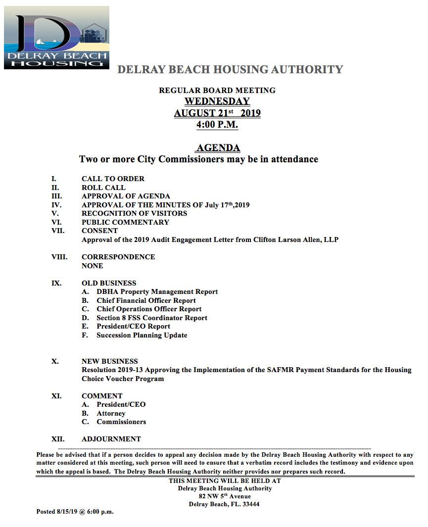 Agenda - Regular Board Meeting Aug 21st, 2019